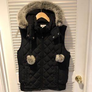ANN TAYLOR LOFT Black Faux Fur Vest